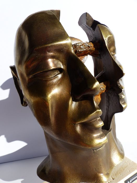 Gomez - Visage Design - Signé - Numéroté - Sculpture - Bronze on resin