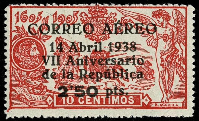 Spain 1938 - Anniversary of the Republic. 2.50 pts over 10 cts red - Edifil 756