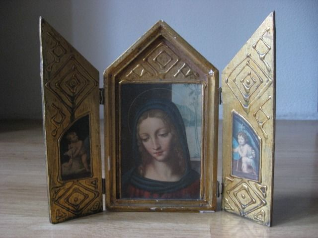 Antique Travel Icon, Triptych Maria with Angels, Gilded, - Wood