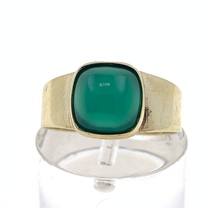 8 kt. Yellow gold - Ring - 1.20 ct jade