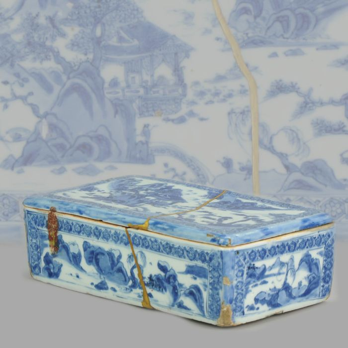 Kasten - Blau und weiß - Porzellan - 16/17C Ming Chinese Porcelain Pencil Box Scholars Table Landscape Rarity - China - Ming Dynastie (1368 - 1644)