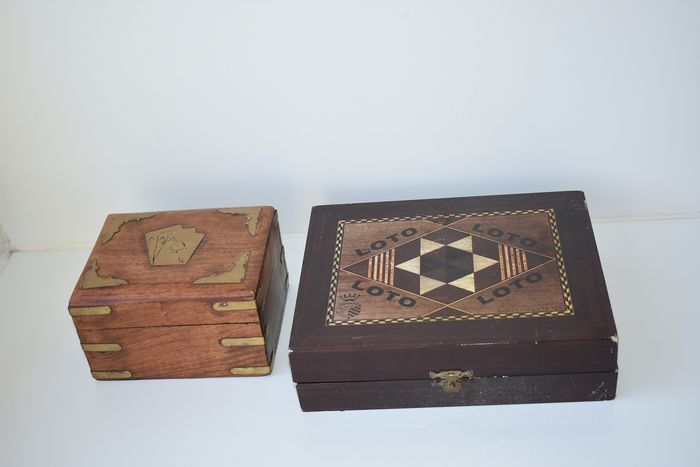 decorative old game boxes - card game, lotto (2) - wood with inlays / intarsia - copper fittings - paper - plastic