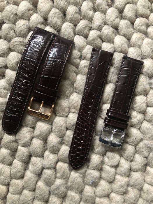 Lot of 2 straps - 21/20mm Orient Calf Brown Embossed Alligator  & 22/20mm Brown/Burgundy Calf Embossed Alligator - Unisex - 2019