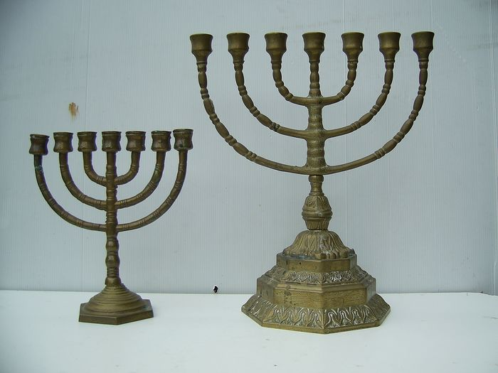 Heavy 7-armed Jewish candlesticks (2) - Copper