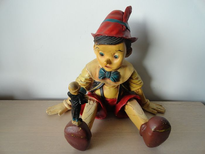 Sculpture, Pinocchio with Japie Cricket (1) - Resin/Polyester