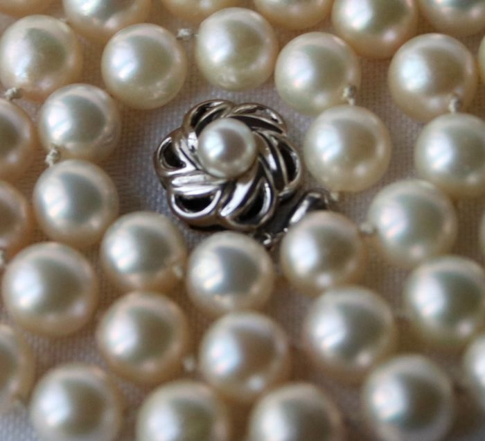 14 kt. White gold - Toi et moi Ring  genuine sea salty Akoya Pearls approx. Ø 6.8 - Diamond, ca. 0.30 ct.