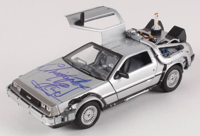 """Back to the Future - Dr. Emmett """"Doc"""" Brown-Christopher Lloyd - 1:24 - Vehicle signed DeLorean model"""