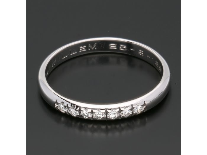 14 kt. White gold - Ring - 0.14 ct Diamond