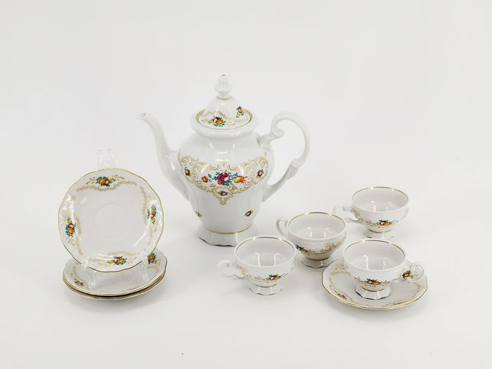 C. & E. Carstens im Zeitraum 1933 - 1945 - Mocha crockery, jug with cups and saucer - Art Deco - Porcelain