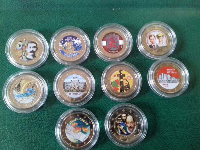 Europe - 2 Euro 2006/2019 Commemorative (10 pieces) with color