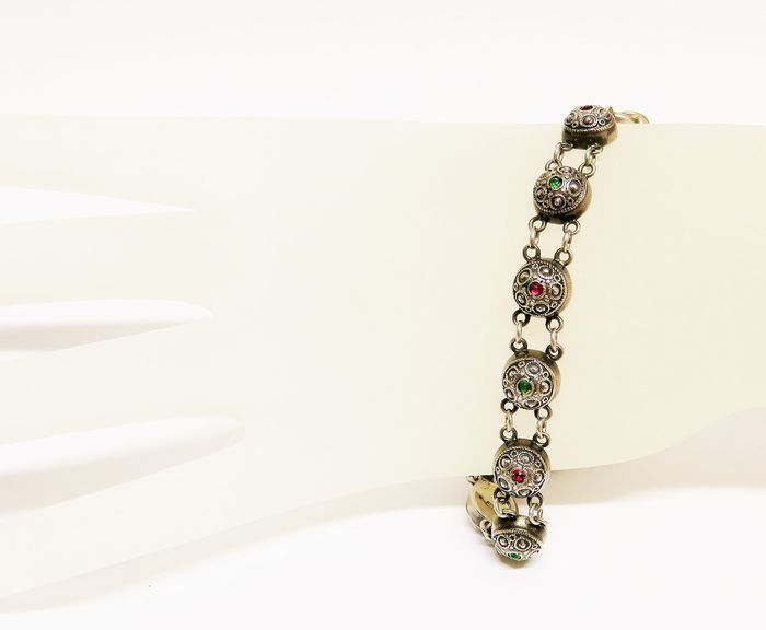 Gundolf Albertus - 800 Silver - Art Nouveau bracelet with color stones, Denmark