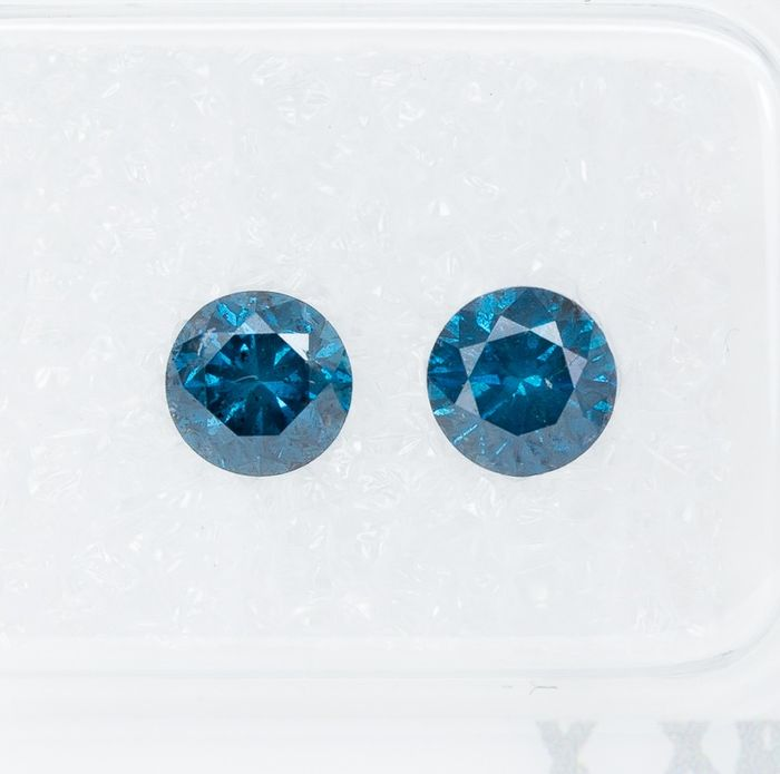 2 pcs Diamantes - 0.92 ct - Fancy DEEP Blue Diamond Lot - I2  *NO RESERVE*