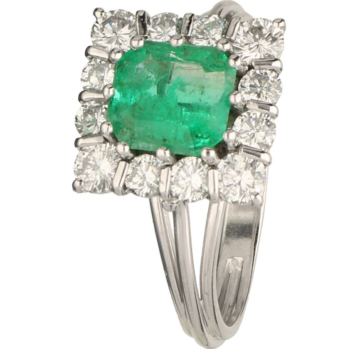 18 kt. Platinum, White gold - Ring - 1.28 ct Diamond - Emerald