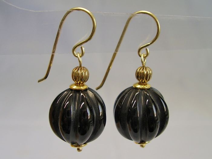 Handgeschnittener Onyx - 14 kt. Yellow gold - Earrings - 30.00 ct Onyx