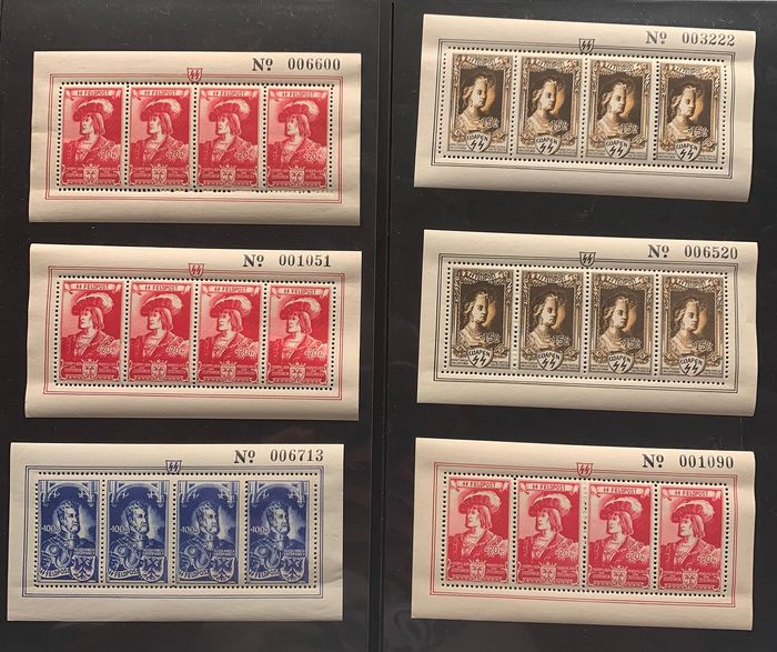 Belgium 1943 - Erinnophilia German Emperor series - Selection of sheetlets, amongst others, perforation curiosities - OBP / COB ex E38-43