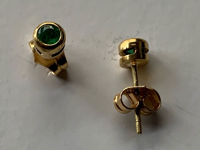Other - 18 kt. Gold - Earrings Emerald