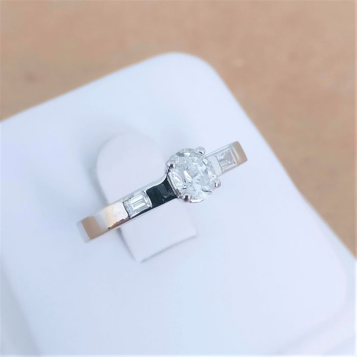 18 kt. White gold - Ring - 0.40 ct Diamond - Diamonds