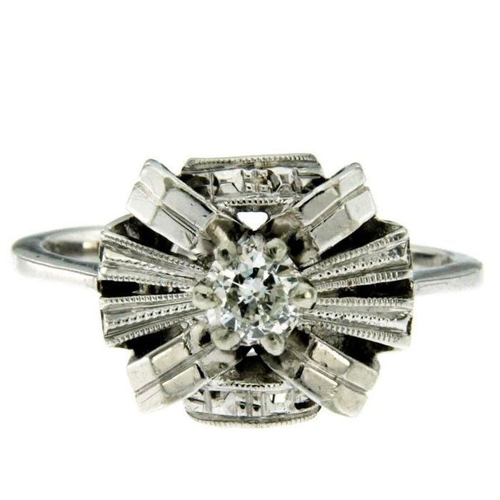 18 kt. Gold, White gold - Ring - 0.15 ct Diamond