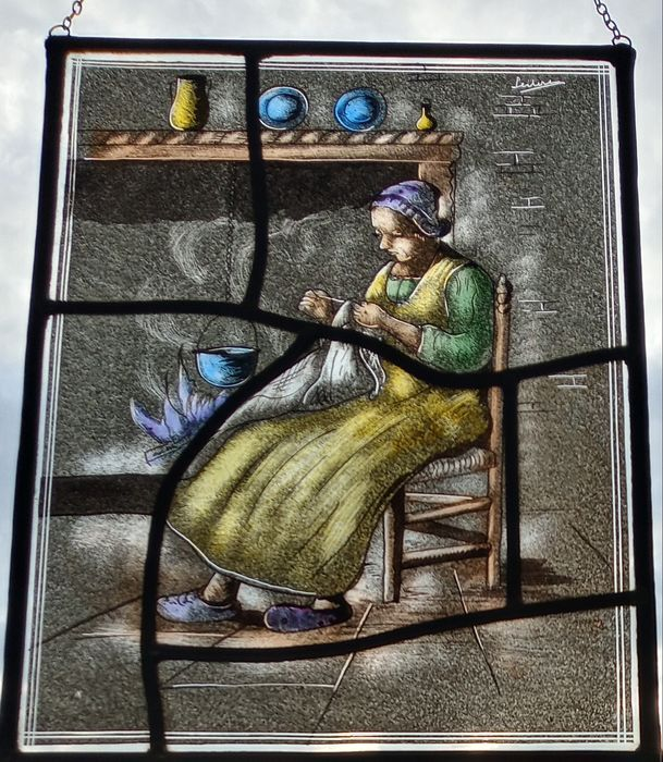 """Herman Leenders (senior) - Window, """"Crafts by the fire"""" - Stained glass"""