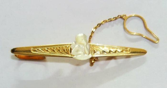 18 kt. Yellow gold - Tie clip Mother-of-pearl angel