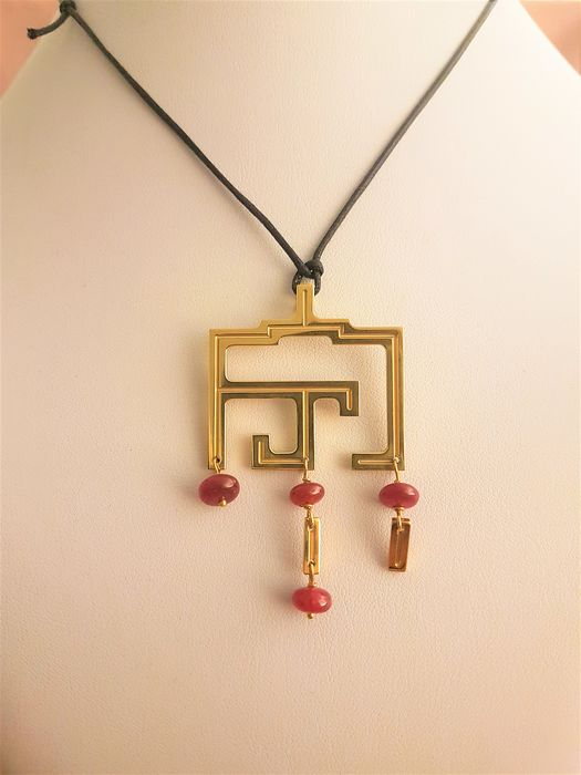 18 kt. Yellow gold - Necklace Ruby