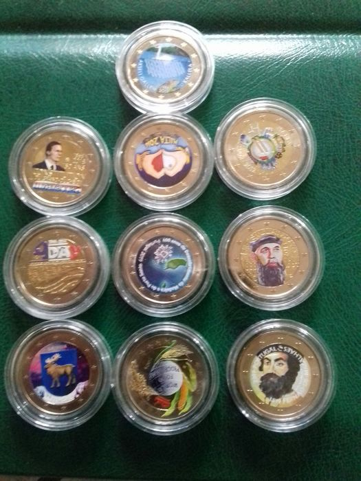 Europe -  2 Euro 2004/2019 Commemorative (10 pieces) with color