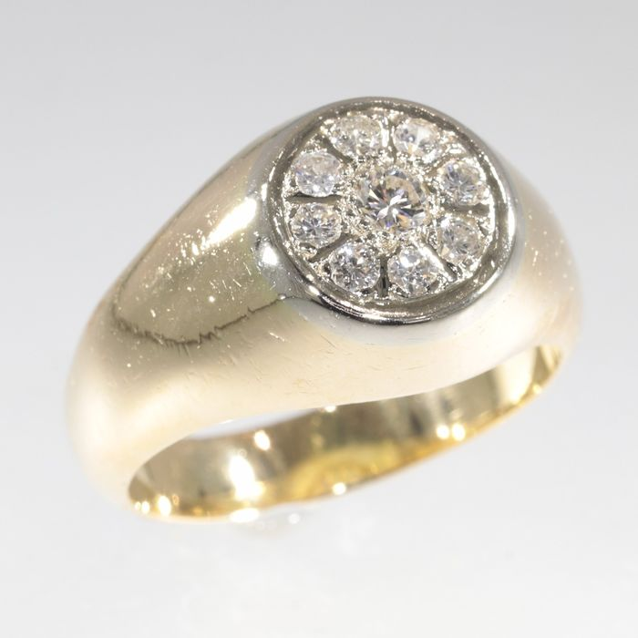 Free resizing!* - 18 kt. -  Yellow gold - Ring, Vintage 1950's Retro Fifties - Mens Ring - TDW 0.44ct Diamond