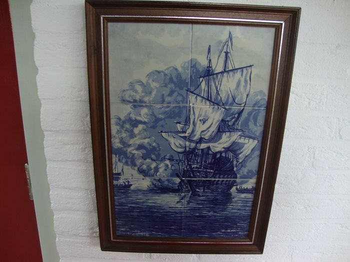 Willem van de Velde - Tegel fabriek De Kroon in Delft - Beautifully beautiful tile picture of a Dutch warship after a painting by Willem van de - Historicism - Glazed tiles painted by hand