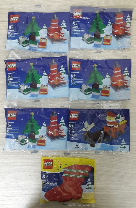 LEGO - Holiday & Event - 40009 + 40010 + 40023 - Holiday Building Set polybag + Santa with Sleigh Building Set polybag + Holiday Stocking polybag -