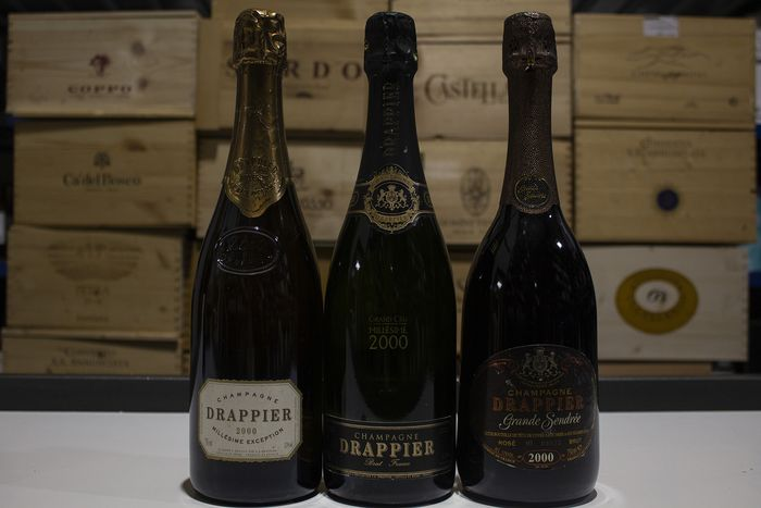 2000 Drappier; Millesimé Exception, Grande Sendrèe Rose Brut & Grand Cru Brut - Champagne - 3 Bottles (0.75L)