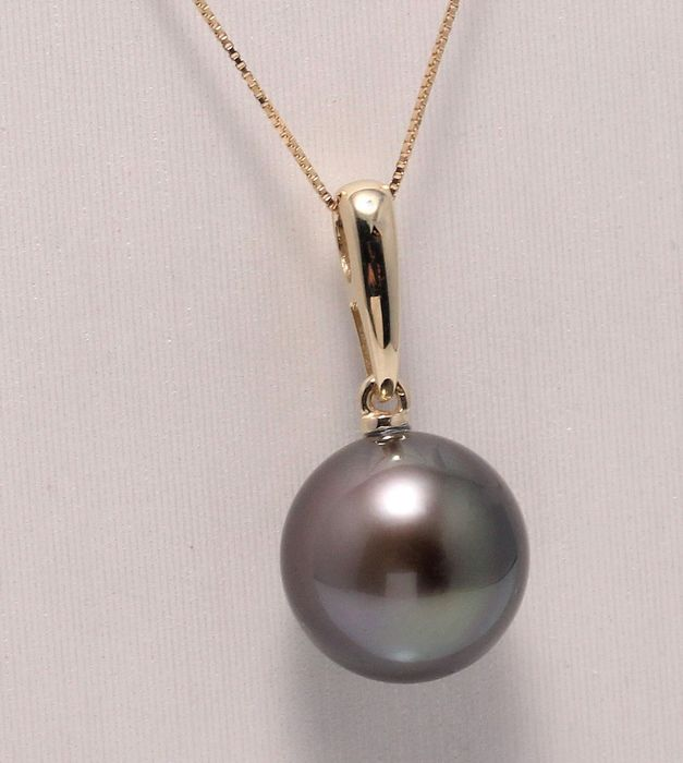 NO RESERVE PRICE - 18 kt. Yellow Gold -11.5mm Round Tahitian Pearl - Necklace with pendant