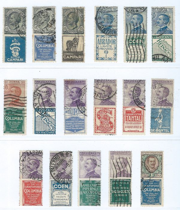 Italy Kingdom 1924 - Advertising stamps in set - Sassone N. 1/5, 7, 9/19