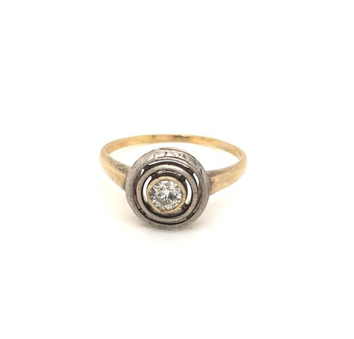 Gold, Silver, Yellow gold - Ring - 0.20 ct Diamond