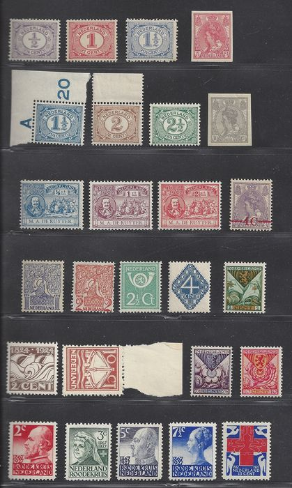 Netherlands 1899/1928 - Various complete sets - NVPH 50/55, 82/83, 87/89, 106, 139/140, 199/207