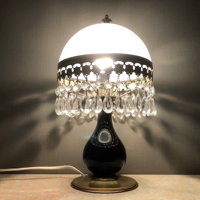 Table lamp with crystal bells - Brass, Crystal