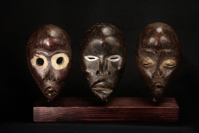 Set of 3 passport masks - Wood - Dan - Côte d'Ivoire