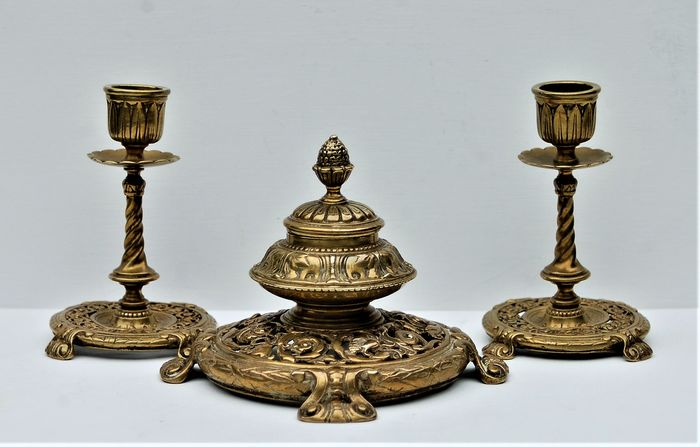 Desk Stand Inkwell with candlesticks - Victorian - Bronze - Second half 19th century