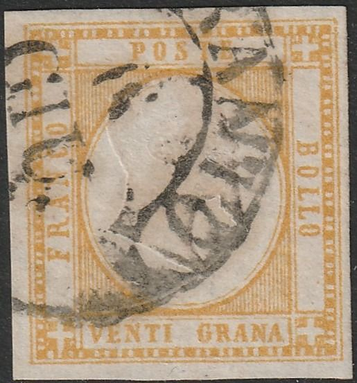 Napolitaanse provincies 1861 - 20 grana yellow used with several signatures - Sassone N.23