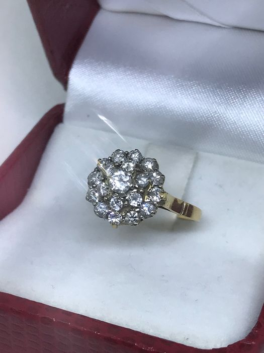 18 kt. Yellow gold - Ring, early '900 - 1.20 ct Diamond
