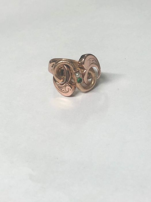 14 kt. Gold - Ring Pearl - Emerald