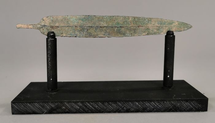 Ancient Greek Period Bronze Spear - 178mm on Custom Made Stand