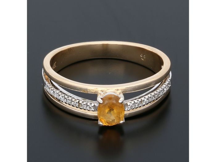 14 kt Gold - Ring Citrin - Diamanten