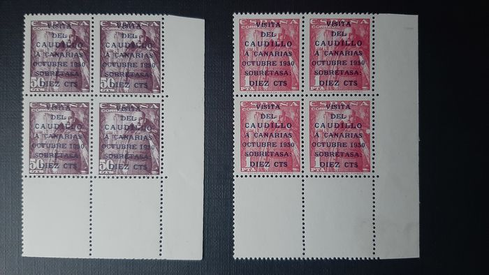 Spain 1951 - 'Visita del Caudillo a Canarias' (visit of Franco to the Canary Islands), block of 4, sheetlet - Edifil 1088/1089 (4)