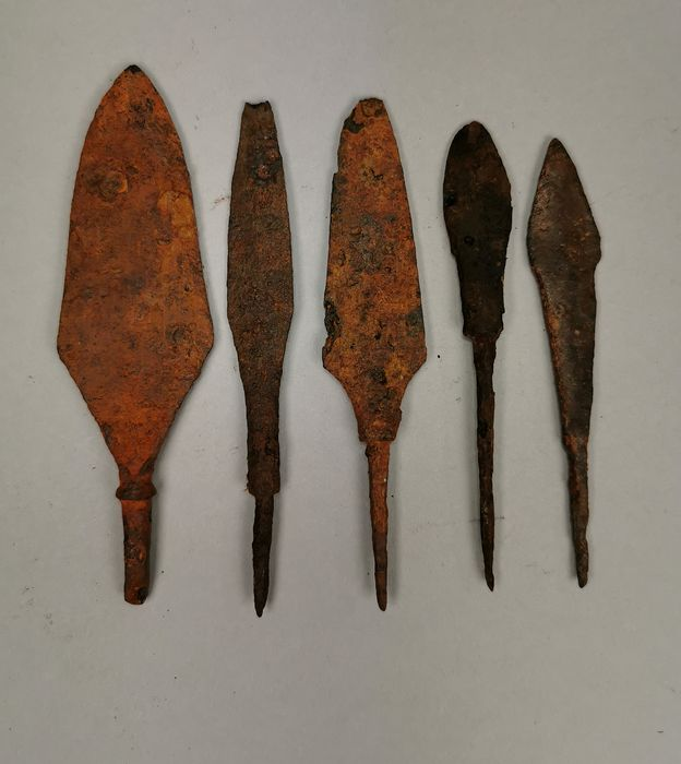 Medieval Viking Iron Collection of Five Arrowheads