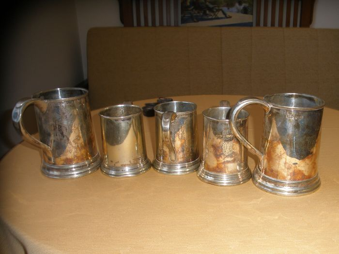 Five Victorian Pint & Half Pint Measures/Tankards - Victorian - Silver plated - Late 19th century