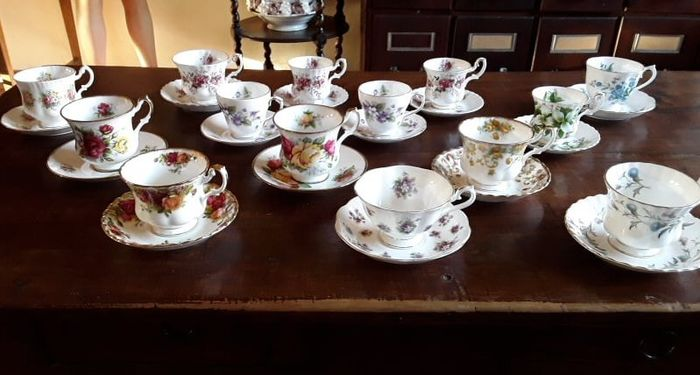 14 English Cups and Saucers - Porcelain