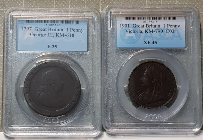 Great Britain - Penny 1797 George III + Penny 1901 Victoria (2 coins) in Slabs