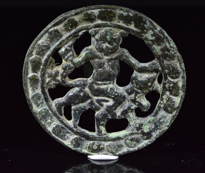 Ancient Sassanian Bronze Mithras and Bull Fitting