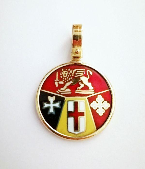 18 kt. Gold, Yellow gold - Medal Fire enamels
