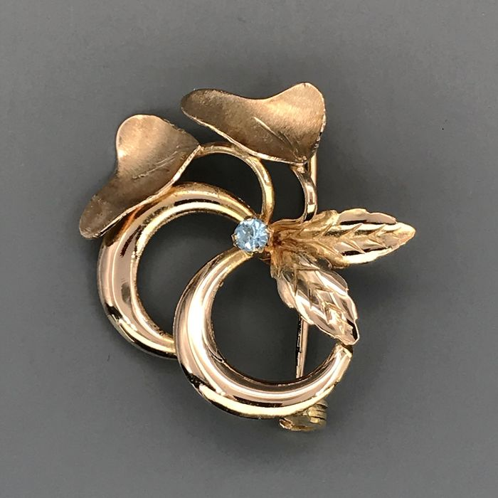18 kt. Yellow gold - Brooch - 0.05 ct Sapphire